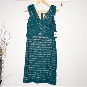Adrianna Papell green lace crossover bodice dress